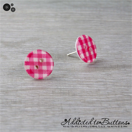 Pink - Check Gingham - Country Style - Button - Stud Earrings