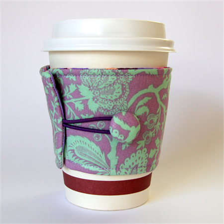 Coffee Cup Cuff - Teal Flower Vines on Lavender Purple