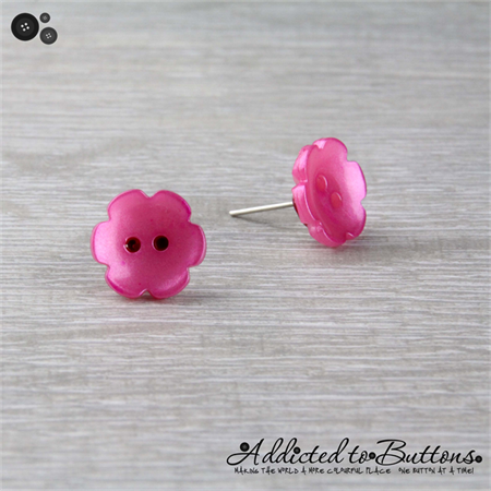 Pink Daisy Flower - Pearl Effect - Button - Stud Earrings
