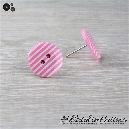 Pastel Pink with White Stripes Button - Stud Earrings