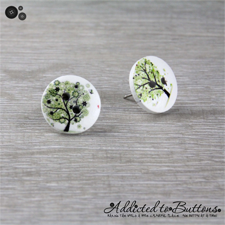 Button Tree - Buttons - Button Stud Earrings - Green