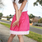 Lace Trimmed Skirt 'Rose Pink' - Size 5 only