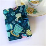 Tea Bag Wallet - Cups on Royal Navy Blue