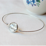 Pride and Prejudice Bangle Bracelet Vintage Jane Austen Mr Darcy Silver Text