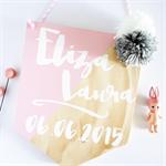 Custom Baby Details Wooden Banner