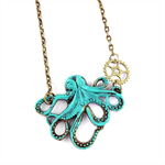 SALE Steampunk Sea Life Octopus Vintage Clockwork Turquoise Pendant Necklace