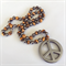 Tigers Eye and Hematite Peace sign NEcklace