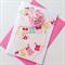 Baby girl newborn congratulations pink onesie bunting cute crotchet flower card