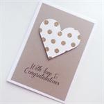 Engagement love & congratulations gold glitter polka dots heart kraft card