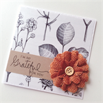 Grateful thank you botanical paper mocha brown burlap flower friend her card