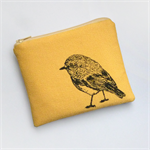 Yellow screen printed robin purse