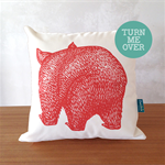 Organic wombat cushion // Wombat front + back cushion cover // Australian animal