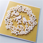 Lovebirds wreath of paper blooms yellow love engagement celebrate card
