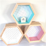 Hexagon Hex wooden pegboard pine woodshadow box shelf