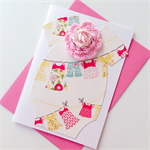 Baby girl newborn congratulations pink onesie bunting cute crotchet flower card