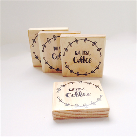 BUT FIRST COFFEE kitchen quote typography calligraphy wooden wood drink coasters