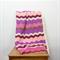 pink, cherry, cream ripples crochet blanket, wool, acrylic, bedding