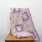 Crochet blanket, black, white, grey, granny square, acrylic yarn, bedding