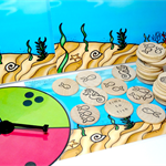 Ocean themed wooden maths game - subitising number game - teacher resource