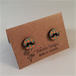 Wooden laser cut cuff links - Moustache