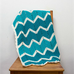 Crochet blanket, wool, ocean, blue, green, bedding