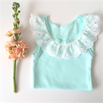 Mint and Lace Collared Singlet - baby girl ruffle tank, summer, white, frill