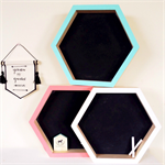 Hexagon Hex wooden wood pine hanging shadow box chalk board shelf
