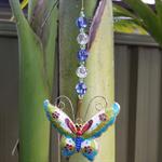 Olivine, Dark Indigo and Crystal Swarovski Cloisonne Butterfly Suncatcher