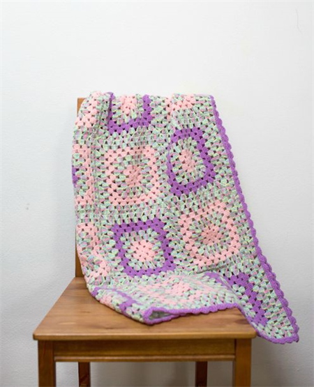 Crochet blanket, purple, pink, mint, granny square, acrylic yarn, bedding