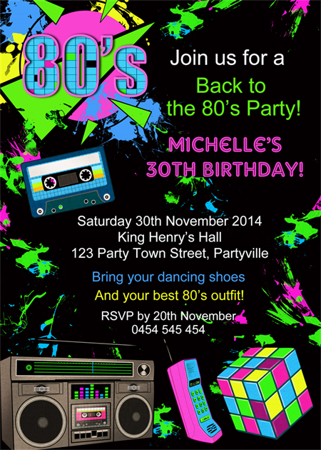 Back to the eighties 80s invite adult adults birthday ...