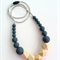 Wooden Geo & Silicone Bead Necklace  - GREY