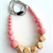 Wooden Geo & Silicone Bead Necklace BLUSH