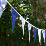 Fabric Bunting - Sunnyside Bunting - Silver Lining in Blue Clouds and Sky