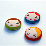 Fridge Magnets - Set of 3, Matryoshka Fabric Fridge Magents, Russian Doll Faces