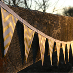 Mini Fabric Bunting - Pink Glitz Bunting - Pale Pink and White with Gold Chevron
