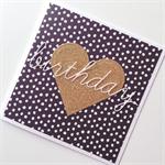 Monochrome black white dots gold glitter heart birthday for her friend card