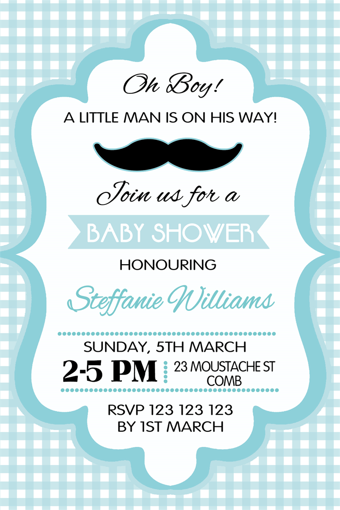 oh boy boys mustache blue theme baby shower invitations invitation, Baby shower invitation