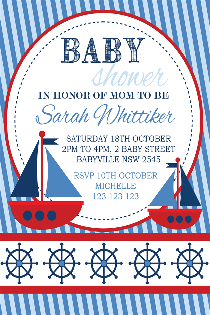 Red white navy blue nautical boat boats theme baby shower invite ...