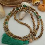 Aventurine/Picture Jasper Long Boho Tassel Necklace