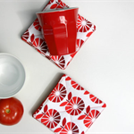 Retro Fabric Coasters Set of 4. Retro Apples in Red and White Reversible