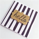 Black white monochrome stripes gold glitter hello her him general friend card