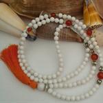 Carnelian/Mt. Jade Long Boho Tassel Necklace