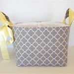Grey lemon large fabric storage basket nappy caddy divided storage bin