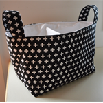 Black and White Crosses Divided Diaper Caddy 13.5 x 7.5 deep x 10.5 tall
