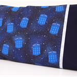 Flying Police Boxes Pillowcase ~ Navy & Grey