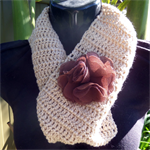 Light Brown Crocheted Infinity Scarf With Flower