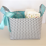 Aqua, grey black small triangle large storage basket, fabric bin, nappy caddy.