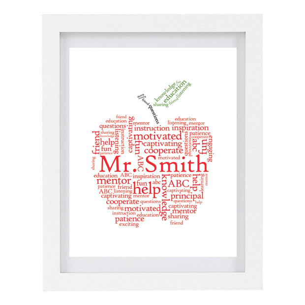 teachers print apple print appreciation gift gift for teacher 8 x 10 - Teacher Pictures To Print