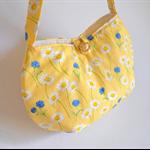 Yellow daisy handbag for girl, small lemon tote