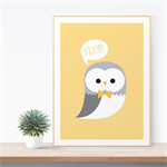A4 Nursery Art Print - Hoot! Owl yellow, sweet illustrated children's wall art